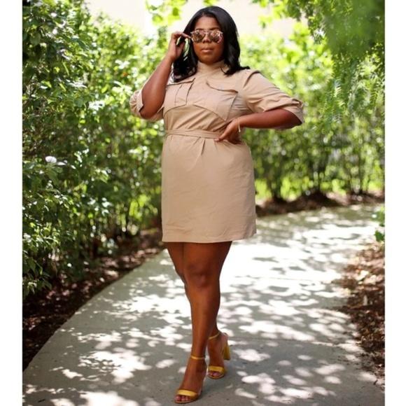 Eloquii Dresses & Skirts - Plus Size Khaki Cargo Shift Dress x ELOQUII